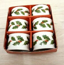 More details for vintage lefton christmas holly napkin rings boxed set of 6 1985 made in japan