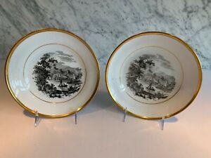 """Early Pair Bat Printed Transferware Pearlware Boat Ruins Plates 9"""" c. 1800"""