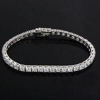 "4 Ct Round Cut Lab Created Diamond White Gold Over Classic 7.00"" Tennis Bracelet"