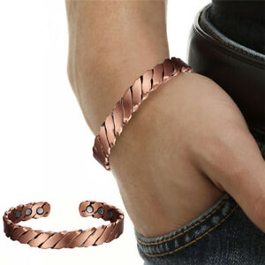 Copper Magnetic Bracelet Arthritis Pain Relief Carpal Tunnel (Twisted w/Pouch)