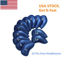 Golf Club Head Covers Iron Headcovers 12Pcs 3-SW Pu Leather Color Blue US Stock