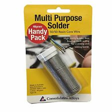 Consolidated Alloys MULTIPURPOSE SOLDER HANDY PACK Resin Core for Small Jobs 40g