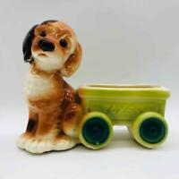 "Vintage Royal Copley 7"" Puppy Dog w/ Flyer Wagon Ceramic Planter Spaniel Terrier"