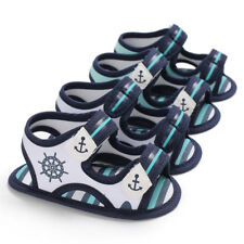 Newborn to 18Month Baby Boy Soft Sole Anchor Crib Shoes PreWalker Summer Sandals