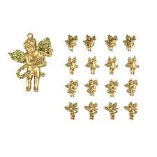 Golden Glitter Winged Cherub Christmas Tree Decorations - 16 Pack