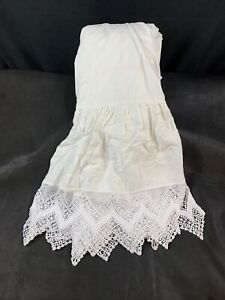 Rachel Ashwell Couture CLUNY LACE Twin Linen Bedskirt White READ DESCRIPTION NEW