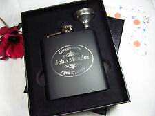 Personalized Flask Gift Box Groomsman Best Man Usher Gifts Engraved Funnel OVAL