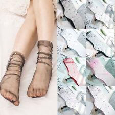 Sweet Dot Tulle Socks Women Transparent Thin Long Socks Female Lace Dress Sock