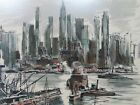 Vintage 1950s - NYC  Hudson River Skyline - JOHN HAYMSON Hand Colored Lithograph