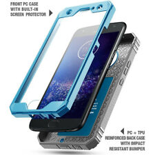 Case For Moto X4 Poetic【Revolution】TPU Case with Built-in-Screen Protector Blue