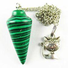 Cat Pendant Bead W00848 Man-made Malachite Pendulum&Tibetan Silver