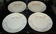 Pfaltzgraff TEA ROSE Set of 4 DINNER PLATES *Very Good* Floral Flowers
