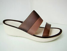Crocs colorblock Wedge Sandale braun beige W 5 - 35 36  sandals shoes brown