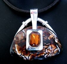 Tibetan Silver 5mm Leather Cord 40cm Necklace Handbag Pendant Brown FREE POST