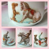 c.1895-1921 Pink Circus Demitasse 8 Pc Set Leuchtenburg Germany Extremely Rare!!