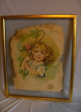 1901 Original Color Lithograph Little Bo Peep Maude Humphrey Victorian Framed