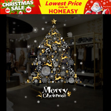 Golden Christmas Tree Wall Decals Vinyl Window Sticker Removable Xmas Decor DIY
