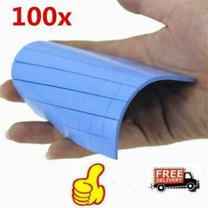 100* Blue GPU CPU Heatsink Cooling Thermal Conductive Silicone Pad 100x100mmx1mm
