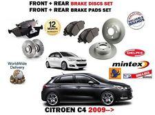 FOR CITROEN C4 1.2 1.4 1.6 HDI 11/2009-> FRONT + REAR BRAKE DISCS SET + PADS KIT
