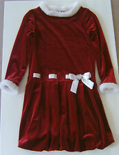 Girls Red Velvet Christmas Dress Holiday Youngland Faux Fur Satin Ribbon Size 6