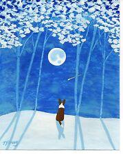 Cardigan Welsh Corgi Dog Winter Snow Folk Art Print Todd Young Snowy Forest