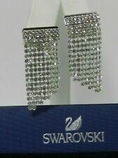 New Swarovski Fit Pierced Earrings, White, Palladium Plated