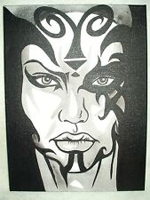 Canvas Painting Star Wars Darth Talon Face Front B&W Art 16x12 inch Acrylic