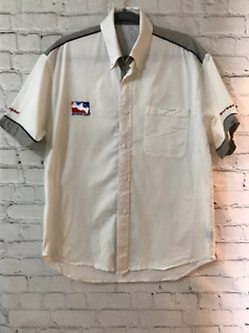 Vintage Indy Racing League Firestone Mens Beige Short Sleeve Button Down Size XL