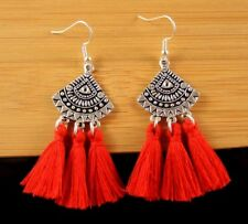 Statement Pair of Red Cotton Tassels Dangle Fashion Boho Earrings #1464