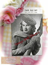 Vintage 1940s Knitting Pattern Lady's Fair Isle Traditional Style Beret & Mitts