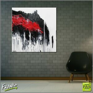 White Red Abstract Art Painting Textured Canvas 100cm x 100cm Franko Australia