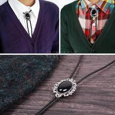 Vintage Opal Bolo Tie Western Cowboy Bolo Tie Alloy Synthetic Leather Necktie