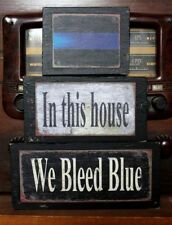 We Bleed Blue Police Primitive Rustic Stacking Blocks Wooden Sign Set