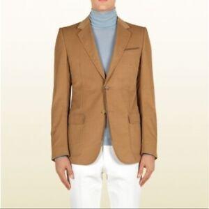 Gucci Camel Fine Corduroy Marseille Jacket Blazer with Suede Trimming Size 46R