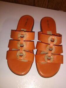 michelle d sandals womens sz 9 rusty orange, flip-flop 3 straps,great shape, cle