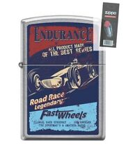 Zippo 207 ENDURANCE FAST WHEELS open wheel road race poster Lighter + FLINT PACK