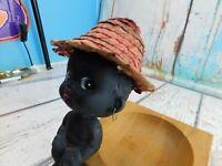 Vintage Black Interest Baby Kid Bobblehead Nodder On Wood Tray w/Straw Hat