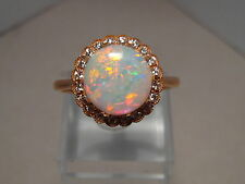 Round White Opal & Diamond Ring 14k Rose Gold , can be made in yellow gold