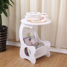 White Modern Round Side/End Garden Coffee Tea Table Home Storage Rack Lamp Shelf