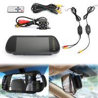 "7""Sensors Monitor Wireless Car Rear View Kit + 8 LED Voiture Caméra de Recul FR"