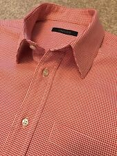 GORGEOUS JAEGER RED DOGTOOTH CHECK CLASSIC FIT SHIRT 15 COLLAR