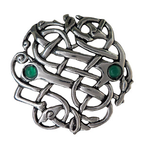 Celtic Open Weave Pewter Pin Badge With Onyx Stones Made In Cornwall