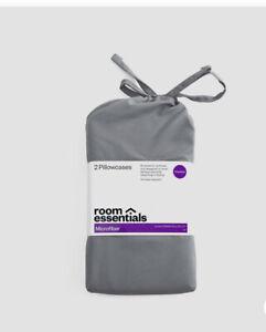 NEW Microfiber Pillowcase Set of 2  (Standard) Pewter Gray - Room Essentials