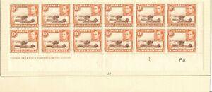 KUT 1938 10c SG134 DE LA RUE IMPRINT PLATE 8 6A BLOCK OF 12 ( 4 HINGED)