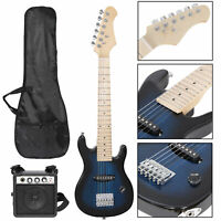 """30""""  Blue Kids Electric Guitar With Amp & Much More Guitar Combo Accessory Kit"""