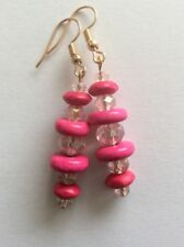 Boho Hot Pink Wood and Crystal Dangle Drop Earring