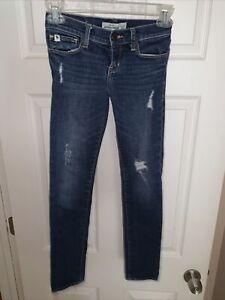 Abercrombie Kids Distressed Cute Stretch Jeans Straight Leg Girls Size 10 Slim
