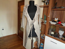 KOCCA BEIGE COTTON SILK KNITTED OPEN FRONT STRING TIED CARDIGAN SHRUG-S,8-UK