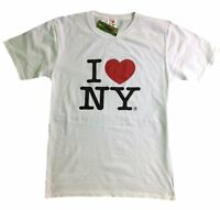 I Love NY New York Short Sleeve Screen Print Heart T-Shirt White NY Mens Tee NYC