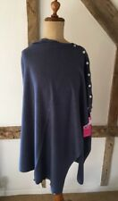 Cashmere Blend Fine Knit Denim Blue Button Down Multi Way Poncho Pashmina